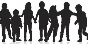 silhouette of children