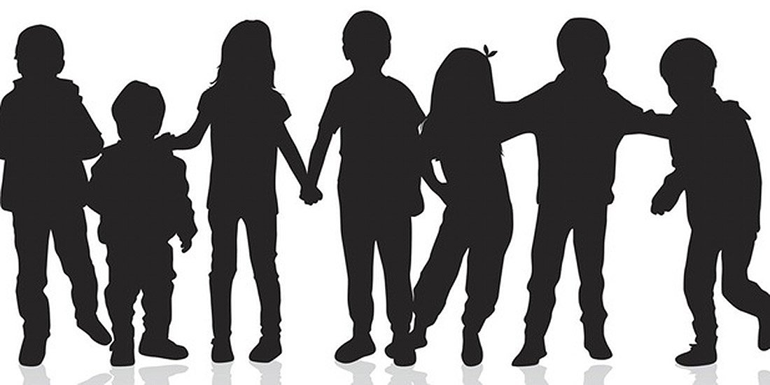 silhouette of children
