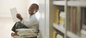 happy kid reading